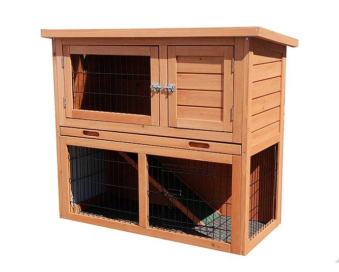Clapier double pour lapin ou cochon d 39 inde et autres rongeurs for Cage exterieur pour lapin pas cher
