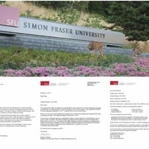 YSI 소식 - 장예진 학생의 사이먼 프레이져 대학 (Simon Fraser University) 합격 소식