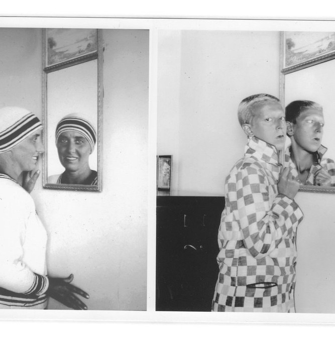 """Left, """"Marcel Moore"""" and right, """"Self Portrait,"""" by Claude Cahun, 1928. CreditJersey Heritage Collections/Jersey Heritage"""