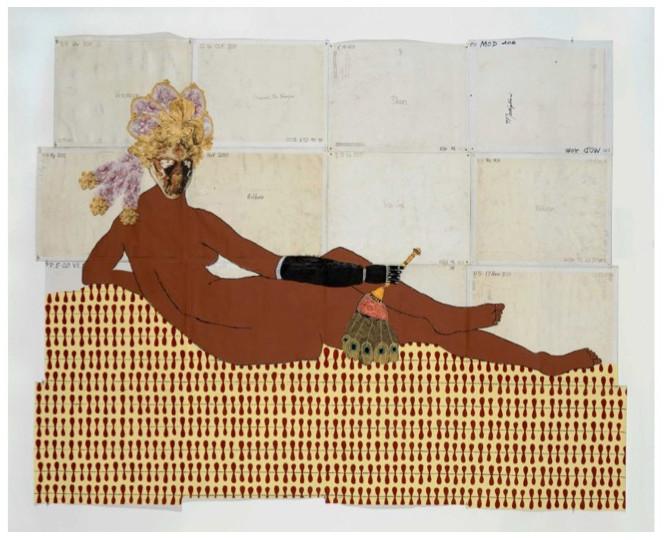"Kathrine Sherwood,  Olympia, 2014 Acrylic and mixed media on recycled linen,  78  x 89"""