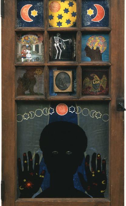 """Betye Saar, Black Girl's Window , 1969, Assemblage in window, 35 3/4 x 18 x 1 1/2"""""""