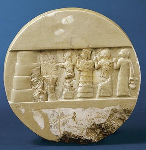 "Votive disk of Enheduanna, from Ur (modern Tell Muqayyar), Iraq, ca. 2300-2275 BCE. Alabaster, diameter 10"""