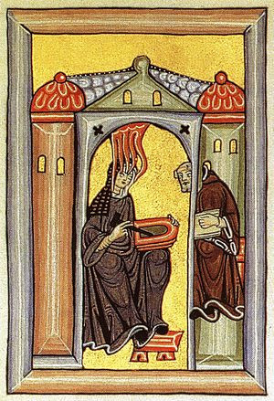 Hildegard and Volmar, 1927-1933, facsimile of the frontispiece of the Liber Scivias  of Hildegard of Bingen. Original, 1150-1175.