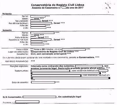 תעודת נישואים חד מיניים חוקית