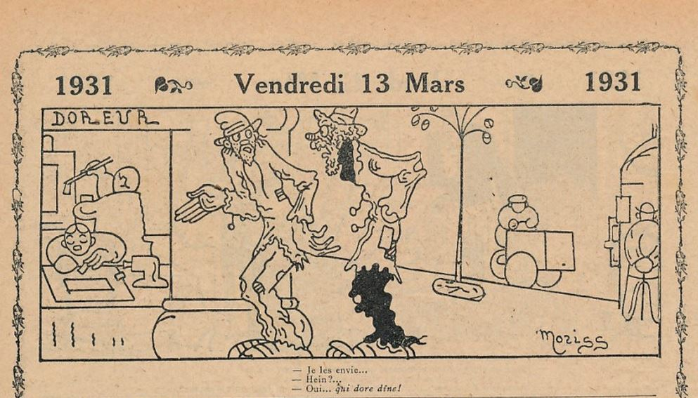 Dessin humoristique tiré de l'almanach Vermot de 1931. Archivage atelier Or Cadre, Laetitia Nicolas, Lodève.