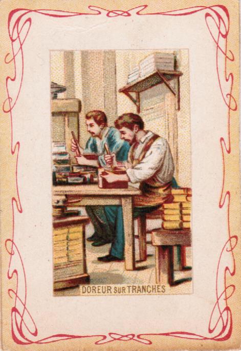 Petite image de la série les métiersreprésentant une illustration du doreur sur tranches. Archivage atelier Or Cadre, Laetitia Nicolas, Lodève.