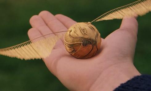Image montrant un vif d'or, la balle du jeu le quidditch dans le monde de Harry Potter. Or Cadre dorure (Lodève, Hérault, France). Image showing a snitch, the ball from the Quidditch game in the world of Harry Potter. Gold gilding frame (Lodève, Hérault, France)