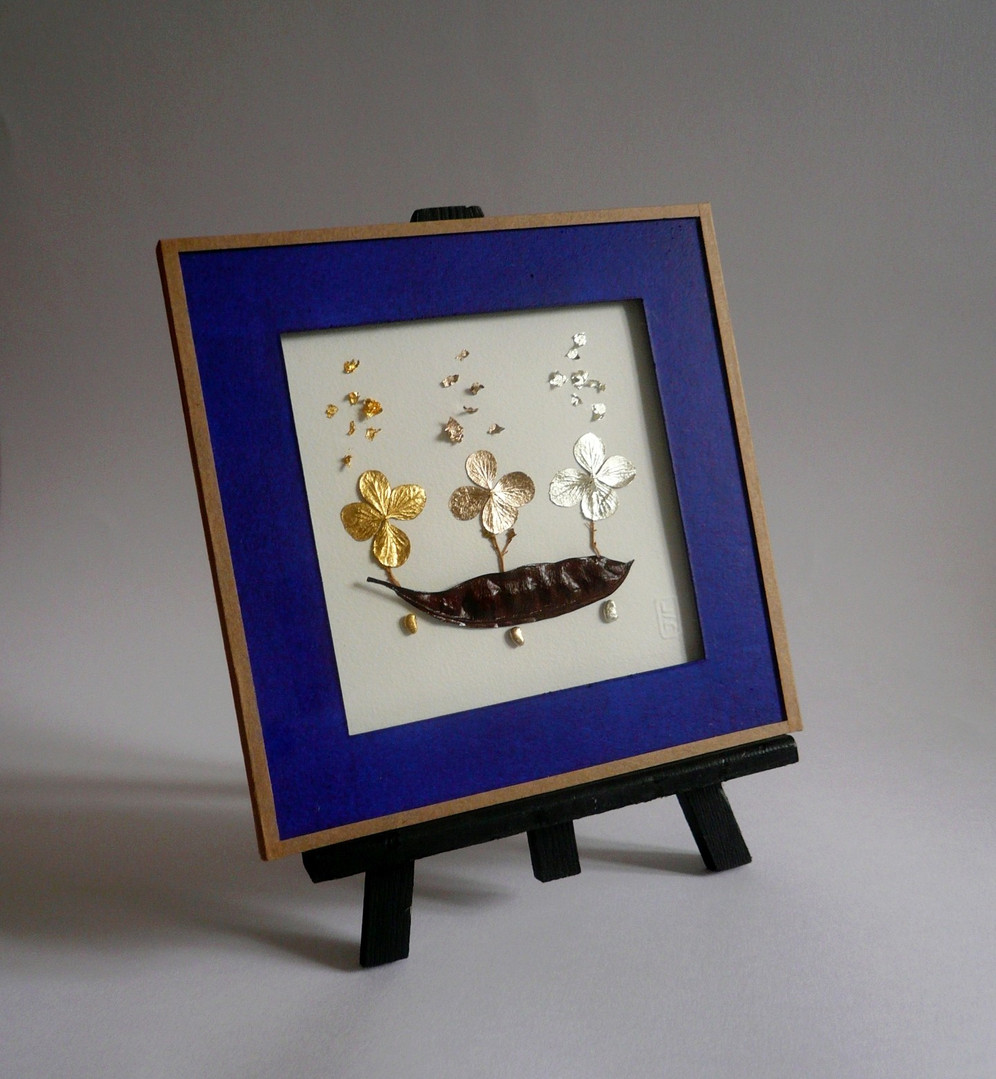 tableau-flORe-vegetal-gilding-or-cadre-occitanie-artisan-dart