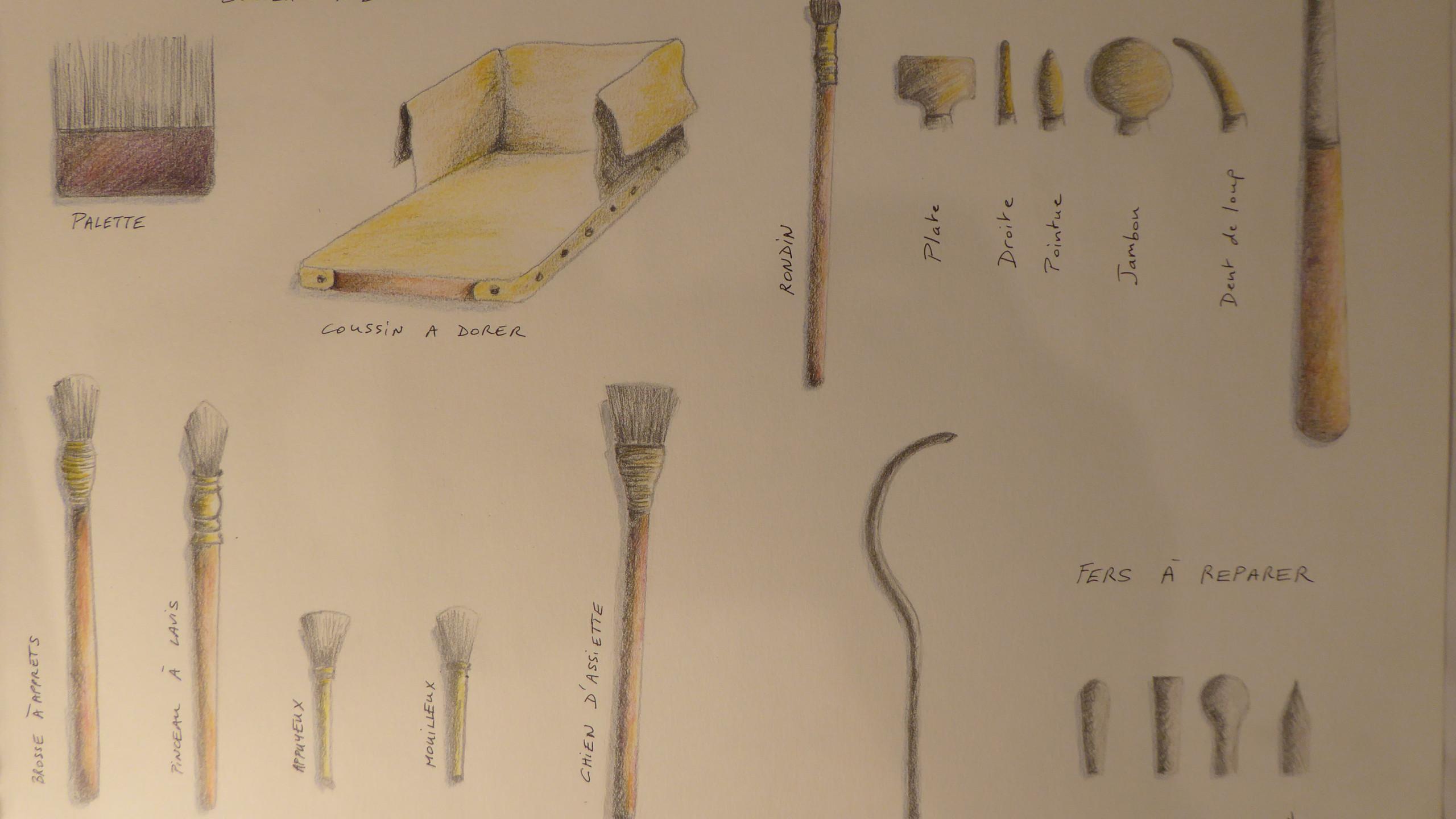 Dessin représentant les outils spécifiques à la dorure à la feuille d'or (Laetitia Nicolas, Or Cadre, Lodève)