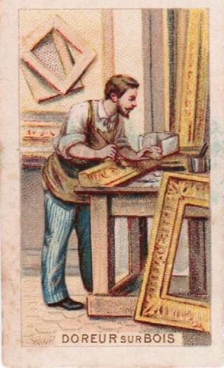 Petit chromo de la série les métiers représentant une illustration d'un doreur sur bois en train de restaurer un cadre. Archivage atelier Or Cadre, Laetitia Nicolas, Lodève.