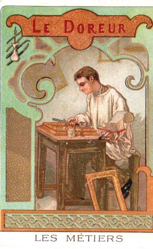 Petite image de la série les métiers (Chocolaterie de l'Union de Lyon) représentant une illustration d'un doreur en train de restaurer un cadre. Archivage atelier Or Cadre, Laetitia Nicolas, Lodève.