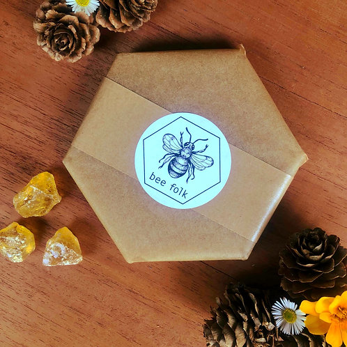 bee folk blend bar 100g- beeswax, tree resin, coconut oil, jojoba oil