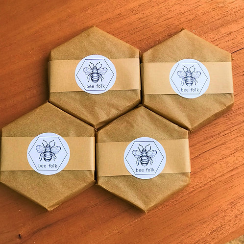 4 pack bee folk blend bar 100g- beeswax, tree resin, coconut oil, jojoba oil