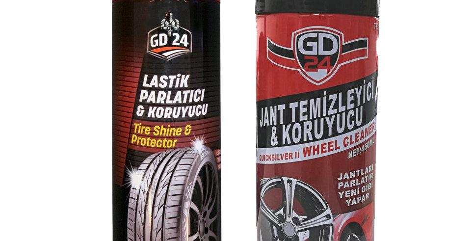 GD24 Lastik Parlatıcı (450 ml) + GD24 Jant Temizleyici (450 ml)