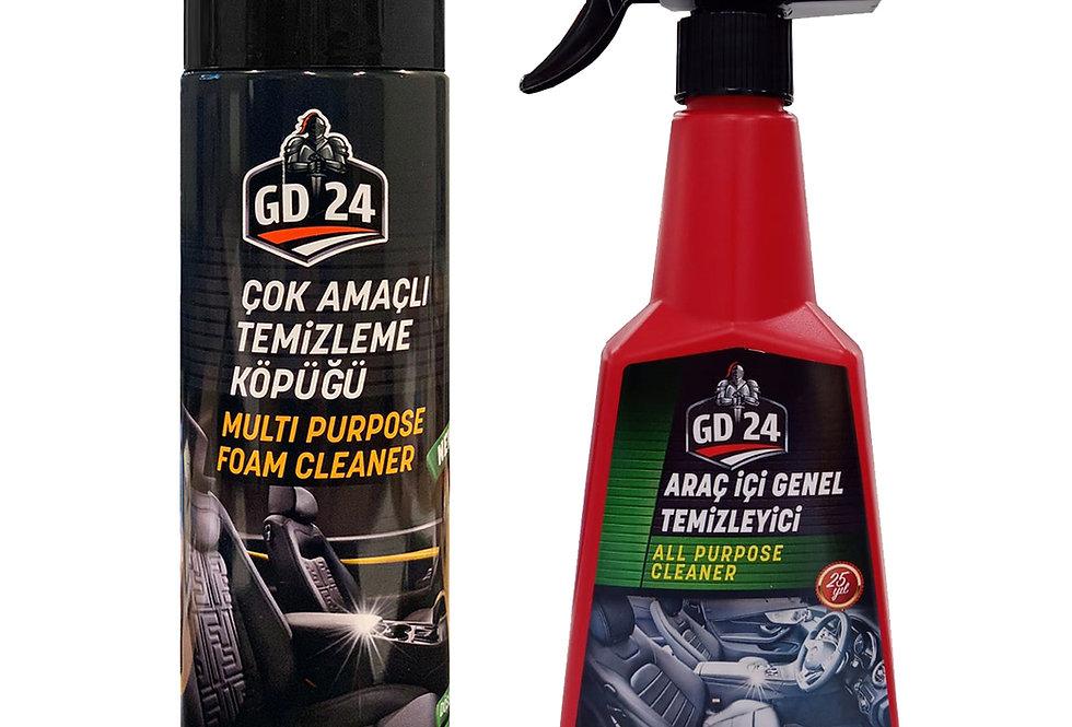 GD24 Çok Amaçlı Temizleme Köpüğü  + GD24 Araç İçi Temizleme Spreyi