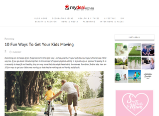My latest feature on getting kids active - MyDeal.com.au