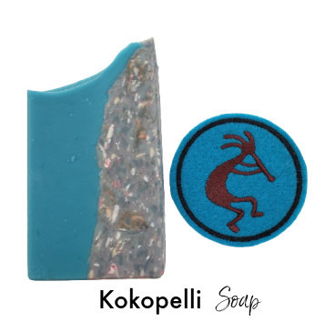 Kokopelli  Iron on Patch plus Turquoise Goat Milk Soap   3.5 ozs