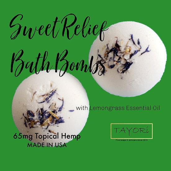 "65 mg CBD Bath Bombs with Lemongrass   2.5"" diameter"