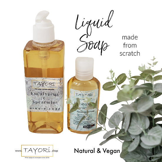 Natural Vegan Liquid Soap - Eucalyptus & Spearmint | Various Sizes