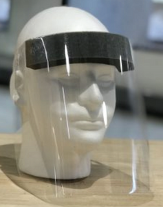 a face shield on a mannequin