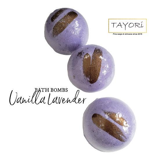 "Vanilla Lavender Vegan Bath Bombs   2.5"" diameter"