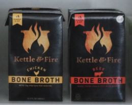 two cartons of Kettle & Fire Bone Broth, one is chicken and one is beef