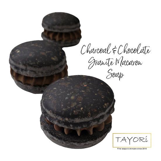 Organic Charcoal & Chocolate Vegan Macaron Soap   2 ozs