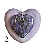 2 Purple Lepidolite Agate Stone Heart.jp