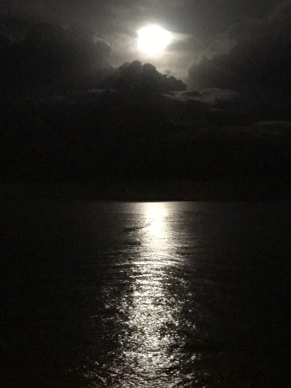 Moon reflected on the ocean