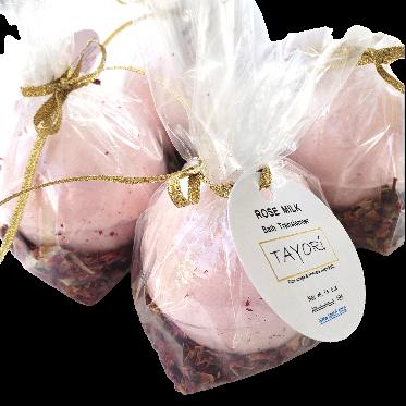 "Rose Milk VEGAN Bath Bombs with Rose Petals   2.75"" diameter"