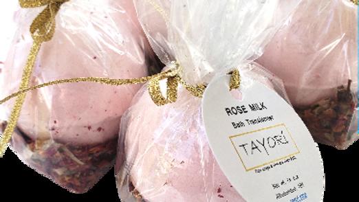 "Rose Milk Bath Bombs with Rose Petals | 2.75"" diameter"