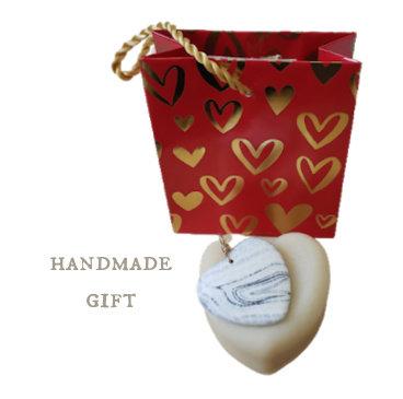 Cacao & Coconut VEGAN Heart Soap & Stone Pendant 01