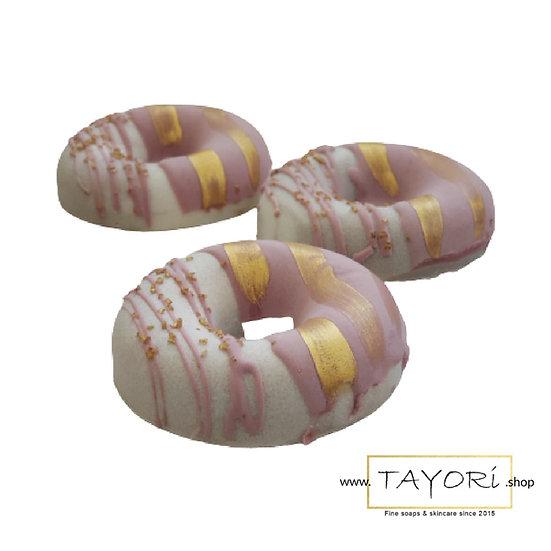 Pink and Gold Vegan Donut Soap for Sensitive Skin | 3.5 ozs & 4 ozs