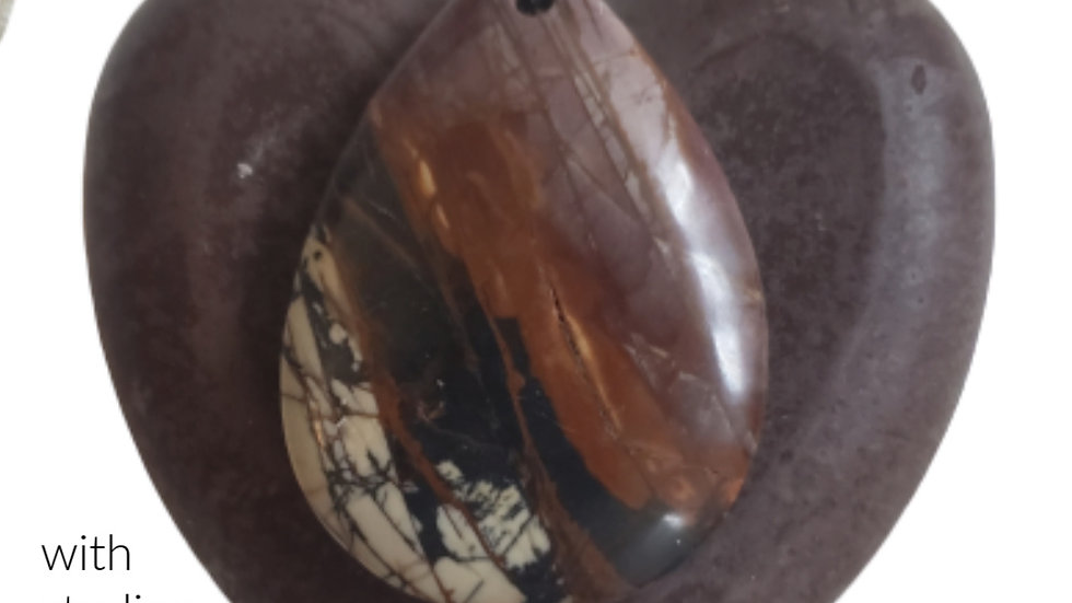Chocolate Agate Stone Pendant and Heart Soap