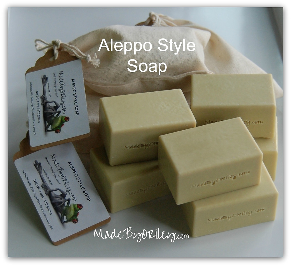 Bars of Aleppo style soap, wrapped and unwrapped