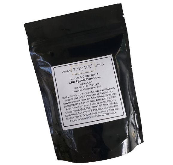 40mg CBD Epsom Bath Soak | Citrus and Cedarwood