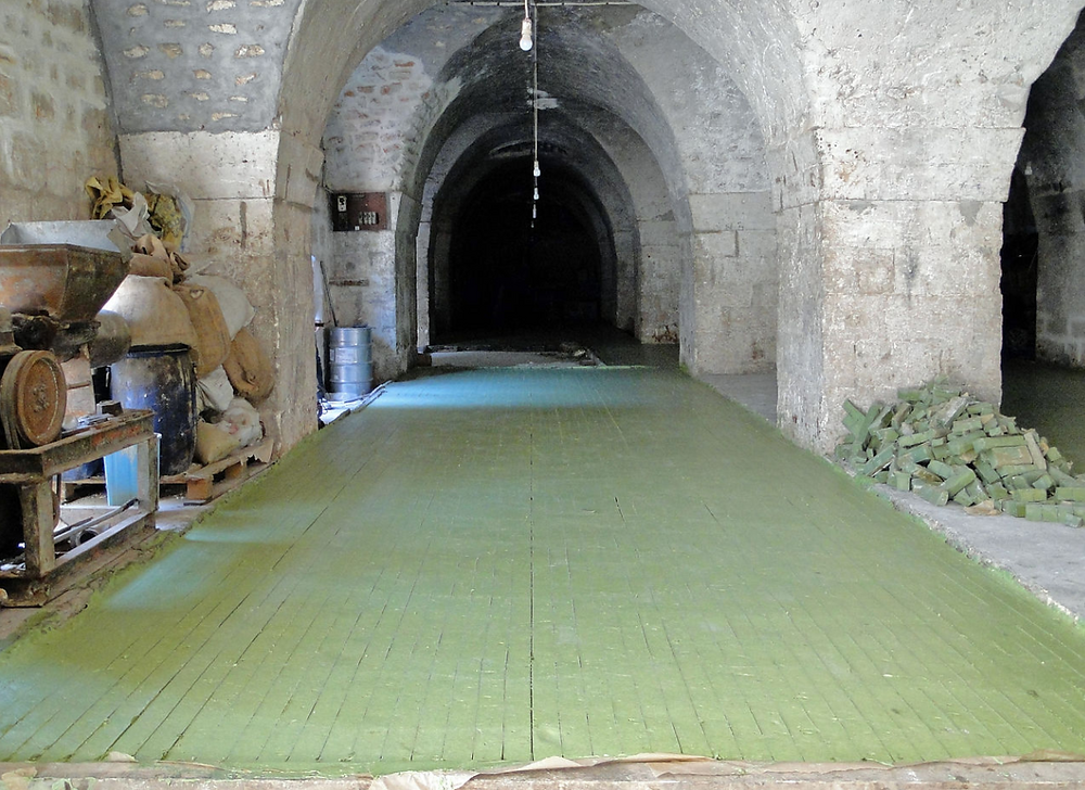 Aleppo soap curing on the floor of an ancient building in Aleppo, Syria