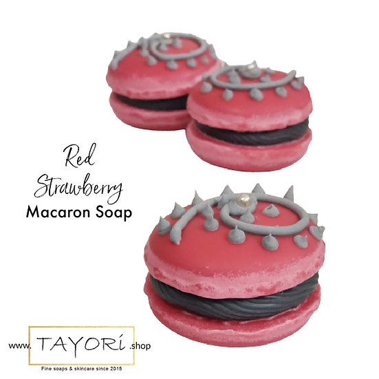 Red Strawberry Vegan Macaron Soap | 2 ozs