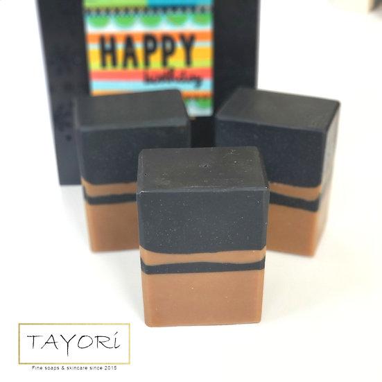 Black & Tan Pinstripe Bar Soap   5+ ozs and 5.5+ ozs