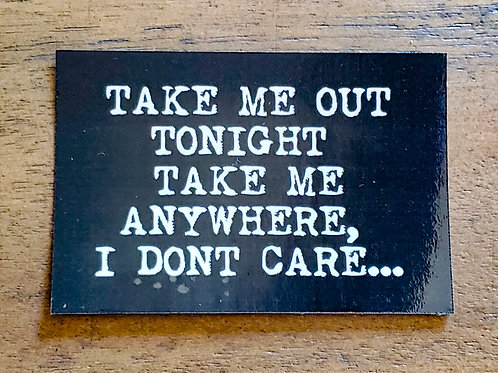 TAKE ME OUT TONIGHT TAKE ME ANYWHERE I DON'T CARE.Vinyl sticker, Waterproof, 3x2