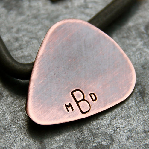 Custom Monogram Guitar Pick in Copper