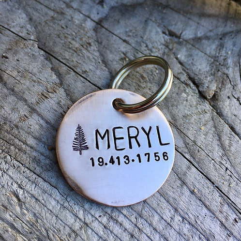 Pine Tree Pet ID Tag - in Brushed 1.25'' Bronze