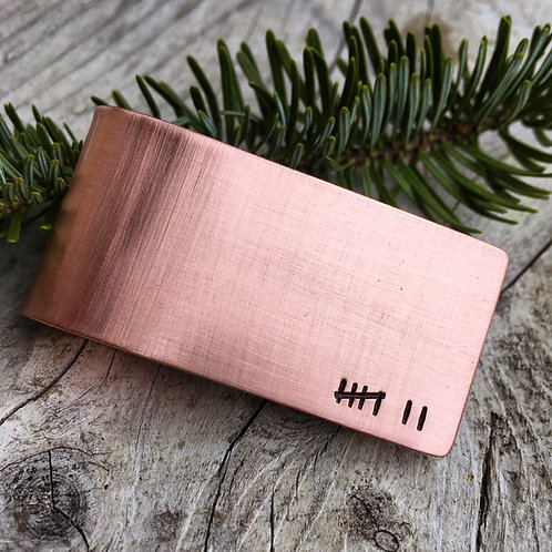 Copper Anniversary Money Clip - Tally Marks