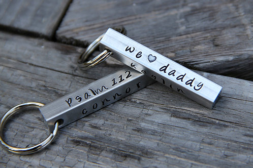 'We Love Daddy' Keychain in Aluminum