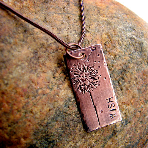Wish Necklace in Handstamped Copper
