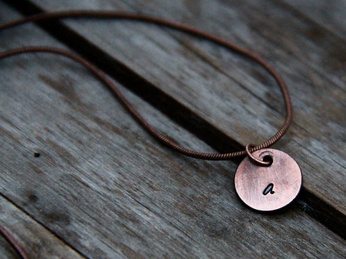 Initial Pendant - Hand Stamped and Weathered