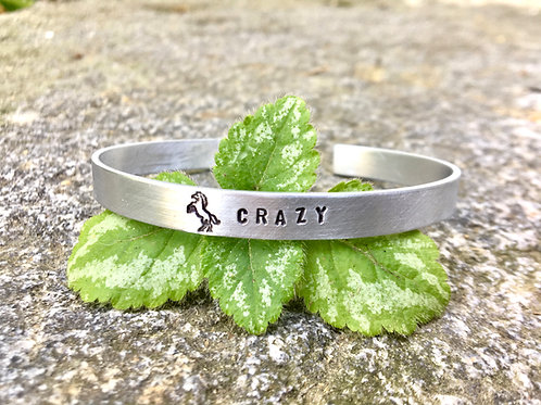 Horse Crazy Bracelet - Silver Stacking Cuff in Aluminum