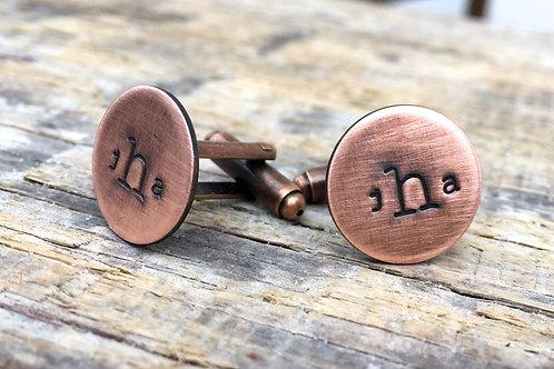 Custom Copper Monogram Cuff Links