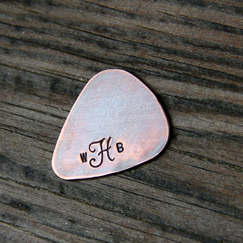 Custom Monogram Guitar Pick in Copper