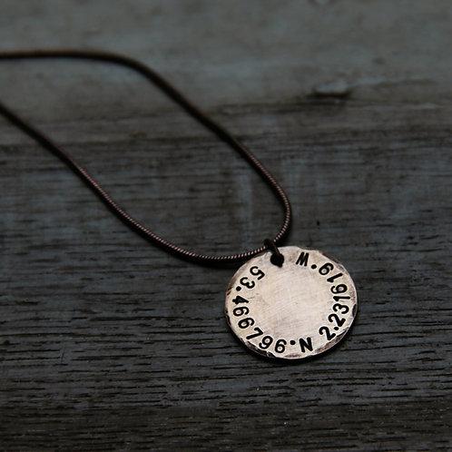 Coordinates Necklace in Bronze